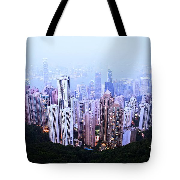 Hong Kong Skyline Tote Bag by Ray Laskowitz - Printscapes