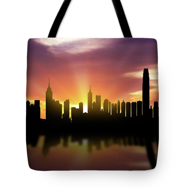 Hong Kong Skyline Sunset Chhk22 Tote Bag by Aged Pixel