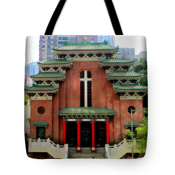 Tote Bag featuring the photograph Hong Kong Temple by Randall Weidner