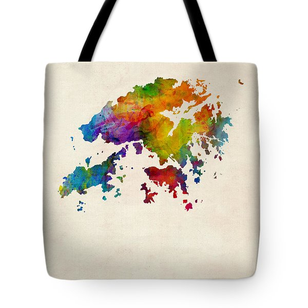 Hong Kong Watercolor Map Tote Bag
