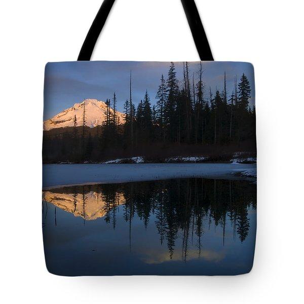 Hood Alpenglow Tote Bag by Mike  Dawson