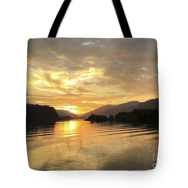 Hood River Golden Sunset Tote Bag
