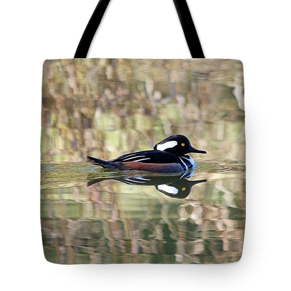 Tote Bag featuring the photograph Hooded Merganser by Elizabeth Budd