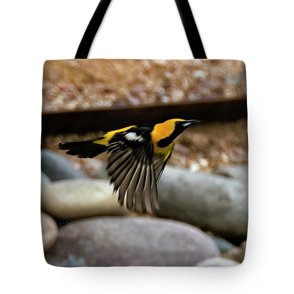Tote Bag featuring the photograph Hooded Oriole H37 by Mark Myhaver