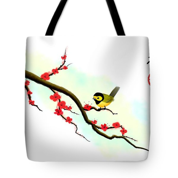 Hooded Warbler Prosperity Asian Art Tote Bag
