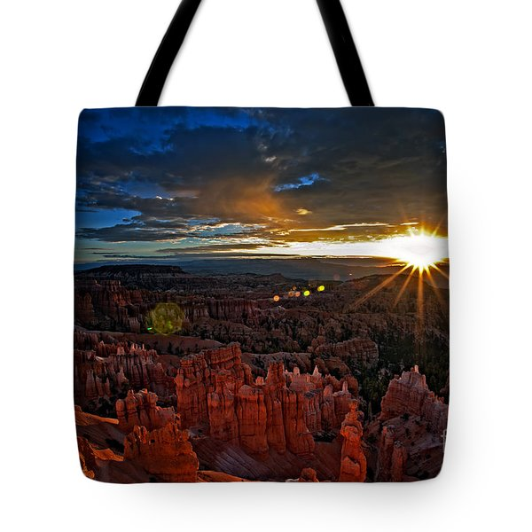 Hoodoos At Sunrise Bryce Canyon National Park Tote Bag by Sam Antonio