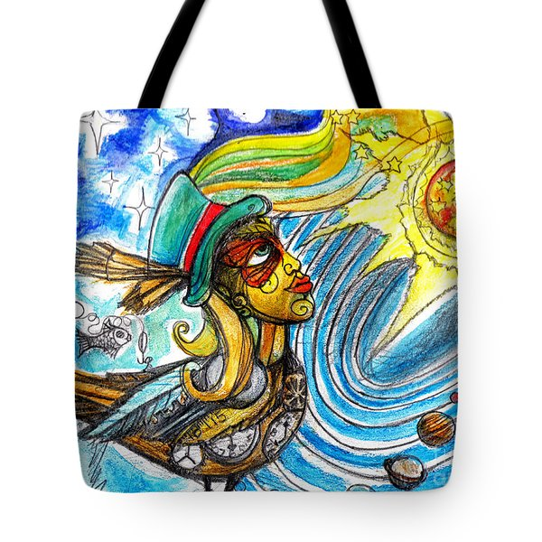 Tote Bag featuring the painting Hooked By The Worm by Genevieve Esson