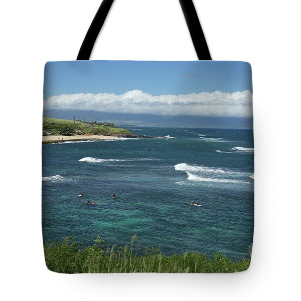 Ho'okipa Beach View From Ho'okipa Beach Park Hana Maui Tote Bag by Peter Dang