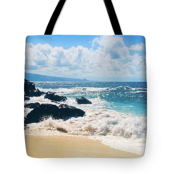 Hookipa Beach Maui Hawaii Tote Bag by Sharon Mau