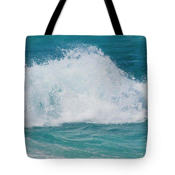 Hookipa Splash Waves Beach Break Shore Break Pacific Ocean Maui  Tote Bag by Sharon Mau