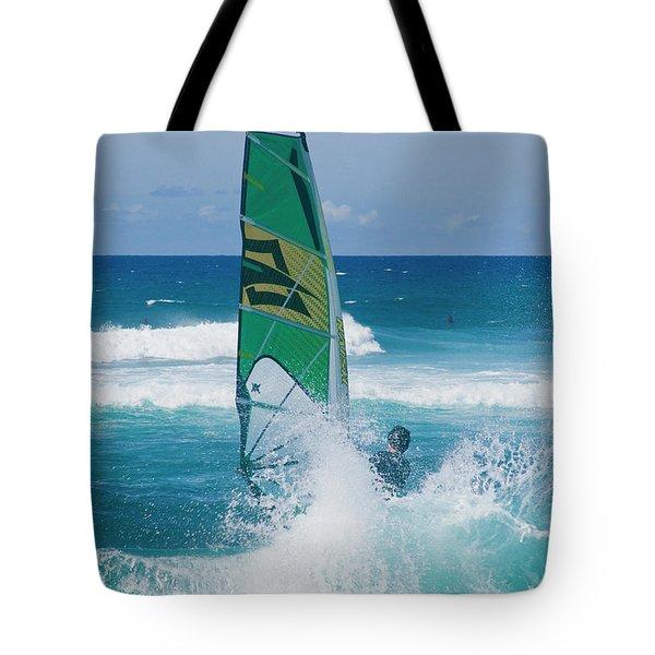 Hookipa Windsurfing North Shore Maui Hawaii Tote Bag by Sharon Mau