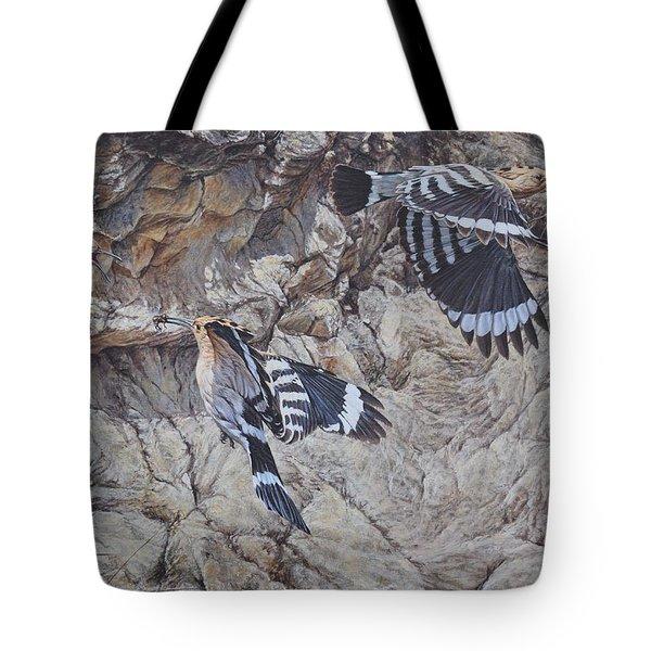 Hoopoes Feeding Tote Bag