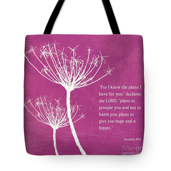 Hope And Future Tote Bag by Linda Woods
