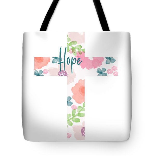 Hope Floral Cross- Art By Linda Woods Tote Bag