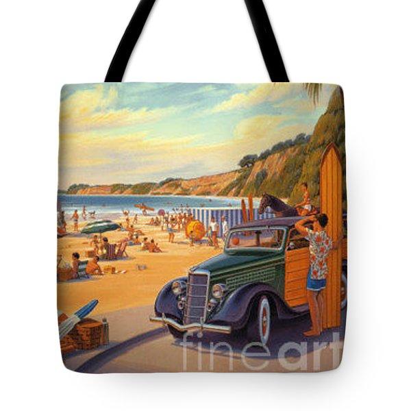 Hope Ranch Beach Tote Bag by Nostalgic Prints