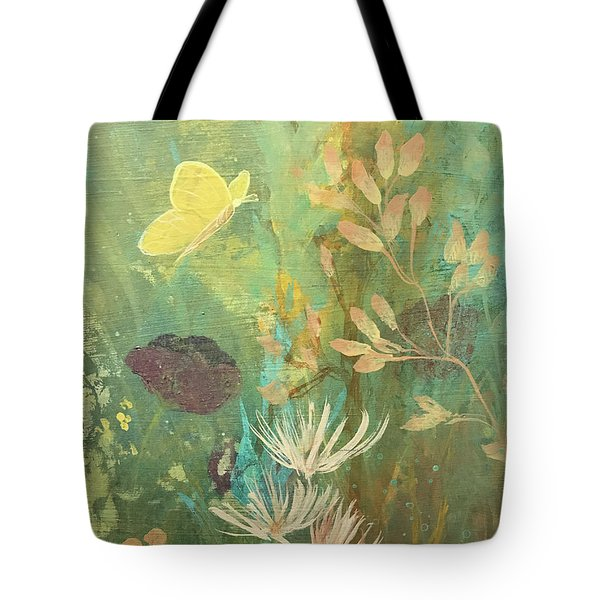 Tote Bag featuring the painting Hopeful Golden Wings by Robin Maria Pedrero