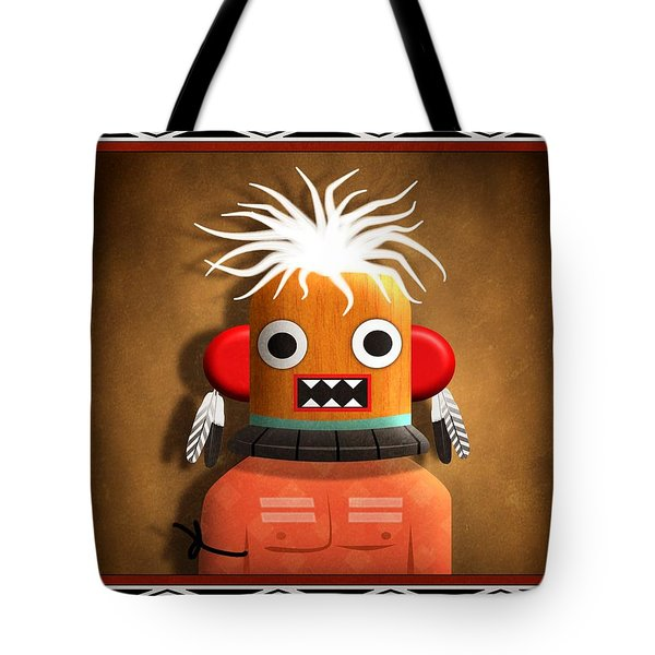 Tote Bag featuring the digital art Hopi Indian Kachina by John Wills