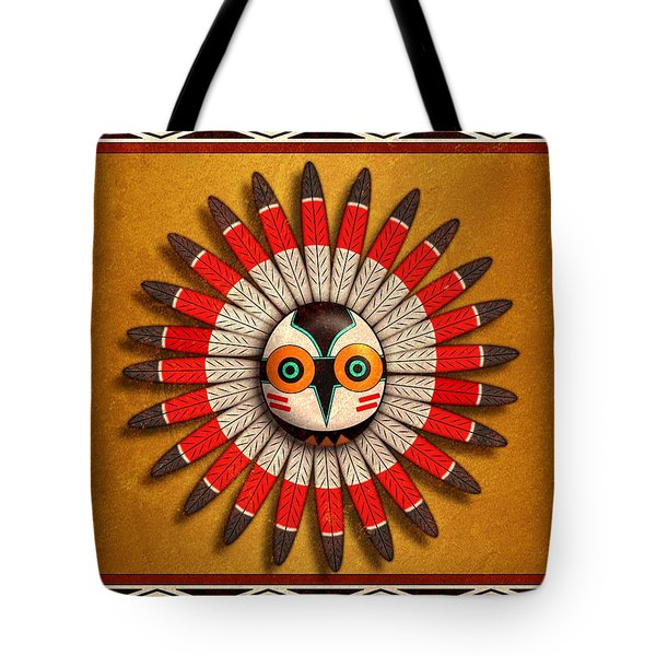 Tote Bag featuring the digital art Hopi Owl Mask by John Wills