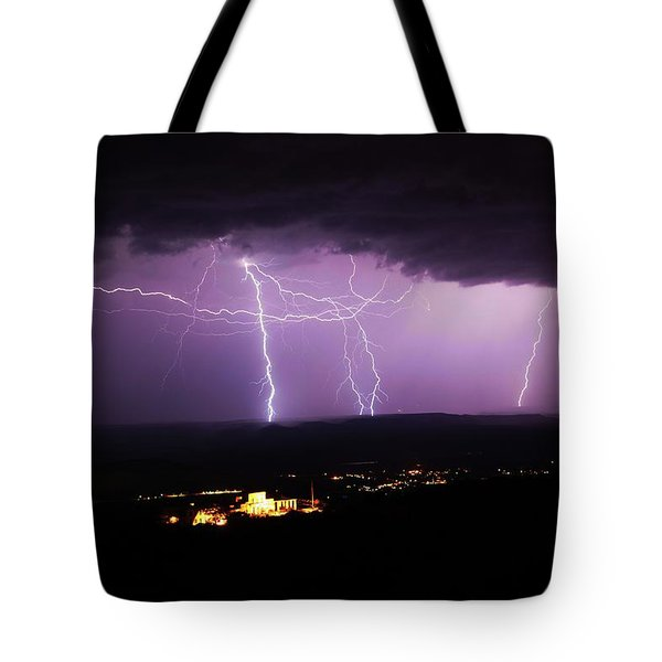 Tote Bag featuring the photograph Horizontal And Vertical Lightning by Ron Chilston
