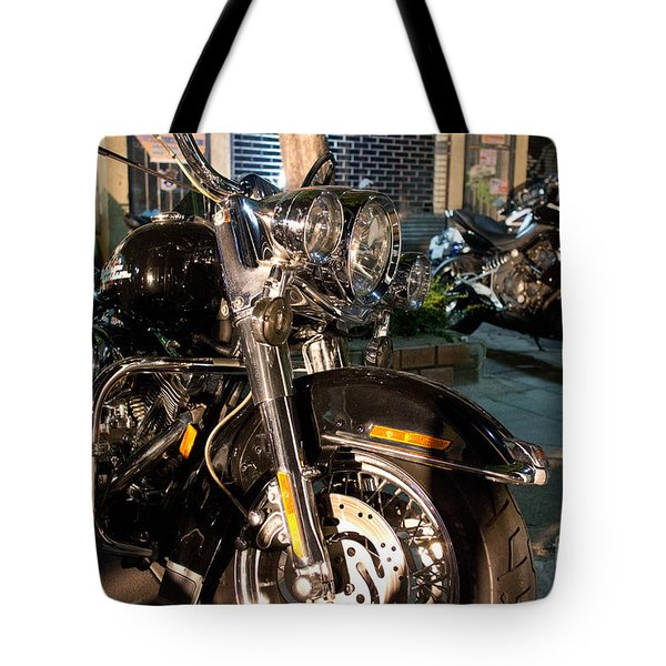 Horizontal Front View Of Fat Cruiser Motorcycle With Chrome Fork Tote Bag by Jason Rosette
