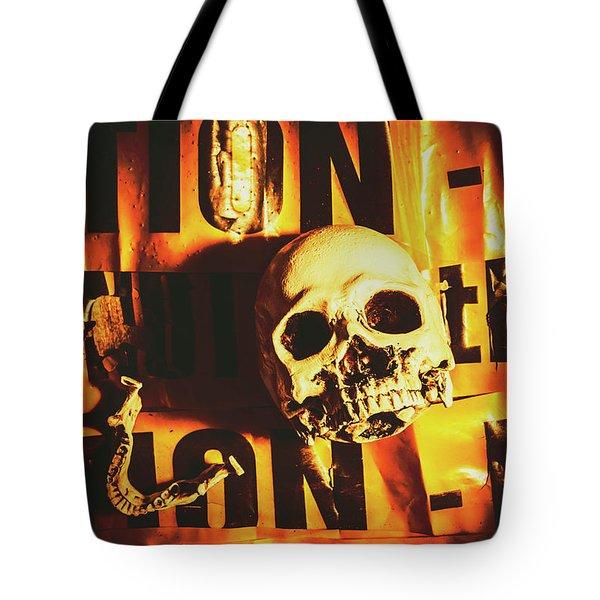 Horror Skulls And Warning Tape Tote Bag