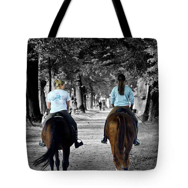 Horsback Rider In Hellbrunn Tote Bag