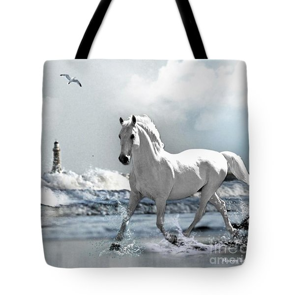 Horse At Roker Pier Tote Bag