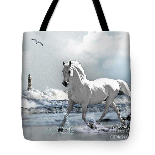 Horse At Roker Pier Tote Bag