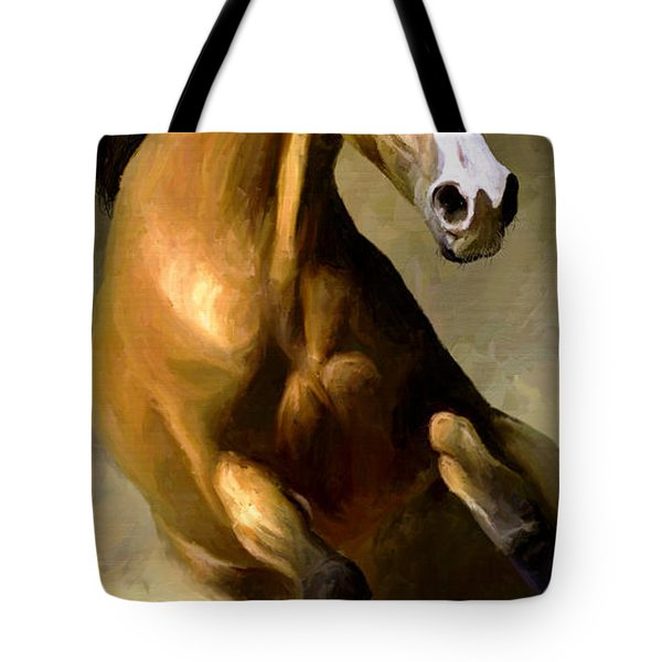 Tote Bag featuring the painting Horse Agility by James Shepherd