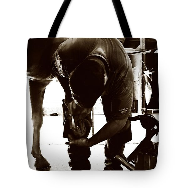 Tote Bag featuring the photograph Horse And Farrier by Angela Rath
