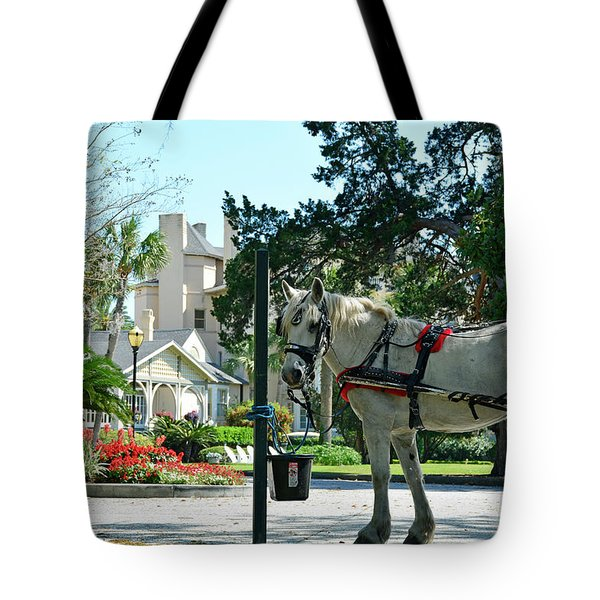 Horse And Jekyll Lsland Club Hotel Tote Bag by Bruce Gourley