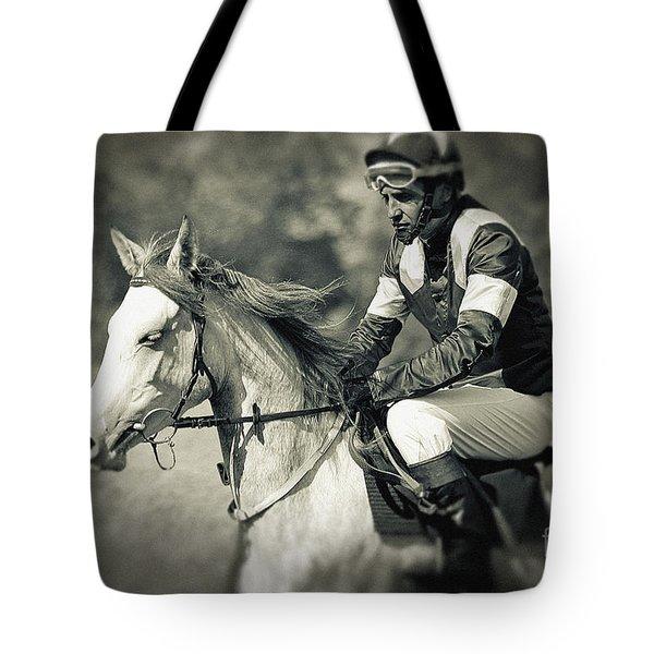 Horse And Jockey Tote Bag