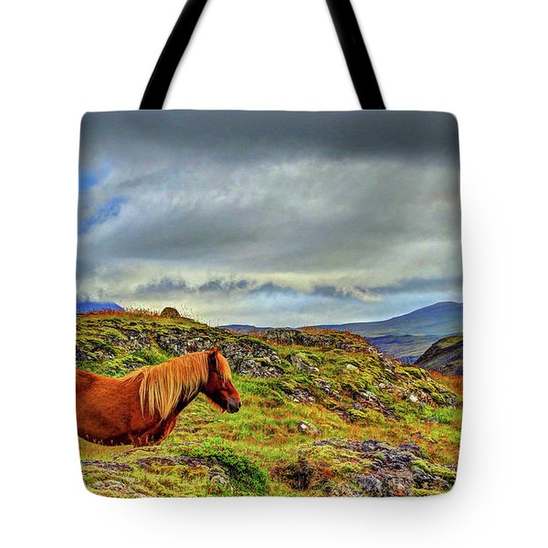Tote Bag featuring the photograph Horse And Mountains by Scott Mahon