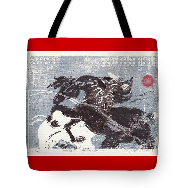 Horse And Red Sun Tote Bag