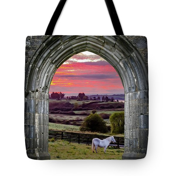 Tote Bag featuring the photograph Horse At Sunrise In County Clare by James Truett