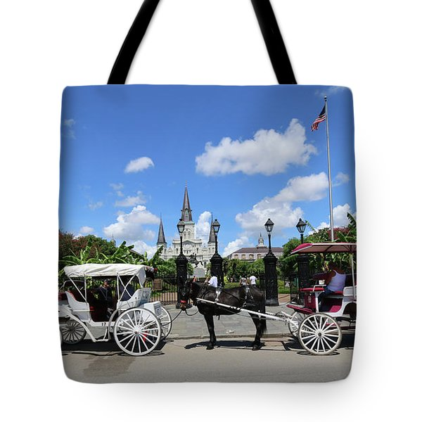 Tote Bag featuring the photograph Horse Carriages by Steven Spak