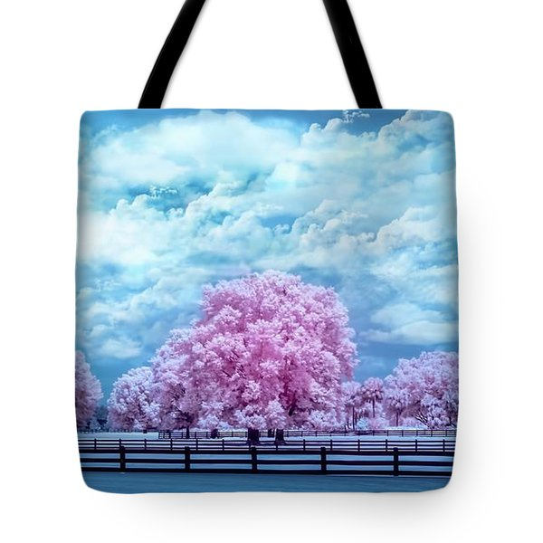 Tote Bag featuring the photograph Horse Country In Pink by Louis Ferreira