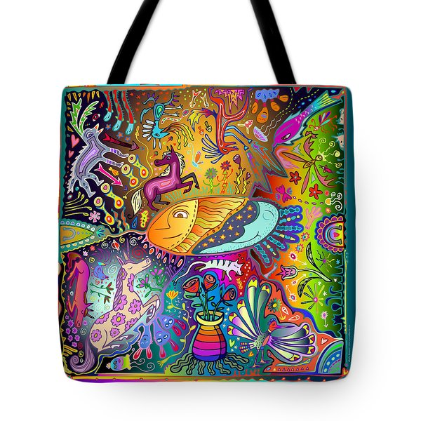 Tote Bag featuring the digital art Horse Dance by Marti McGinnis