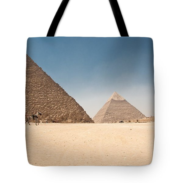 Horse Dragging Cart In Front Of The Giza Pyramids Tote Bag
