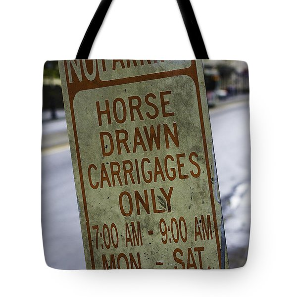 Horse Drawn Carriage Parking Tote Bag