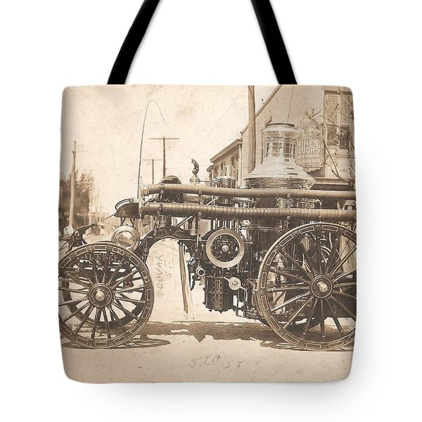 Horse Drawn Fire Engine 1910 Tote Bag by Virginia Coyle