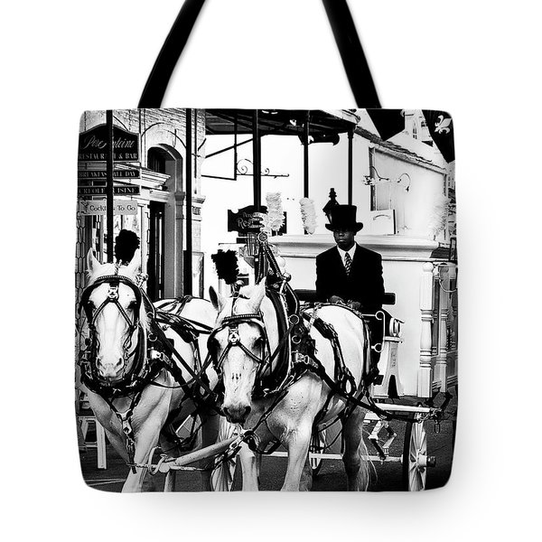 Horse Drawn Funeral Carriage Tote Bag