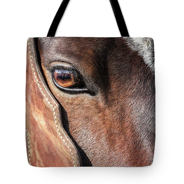 Tote Bag featuring the photograph Horse Eye by Todd Klassy