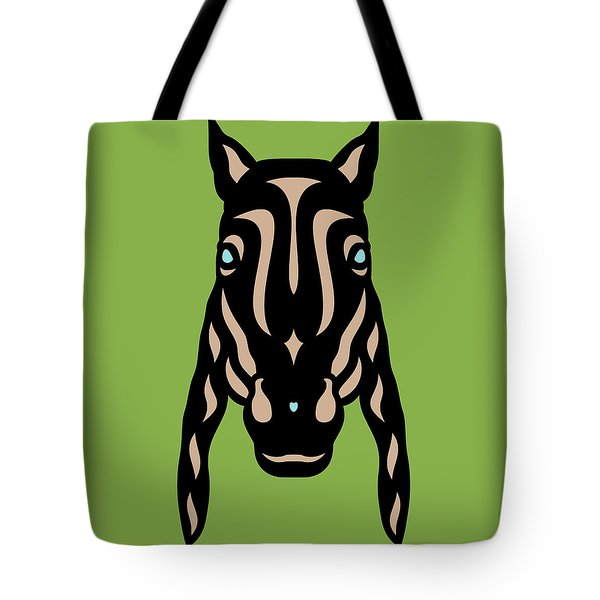 Horse Face Rick - Horse Pop Art - Greenery, Hazelnut, Island Paradise Blue Tote Bag