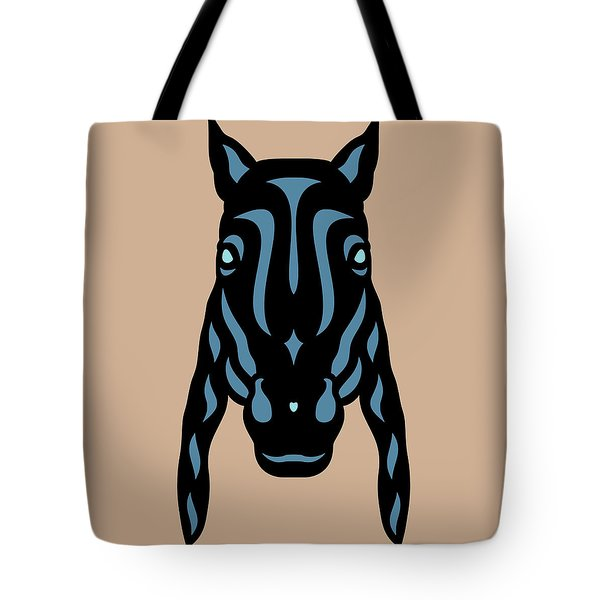 Horse Face Rick - Horse Pop Art - Hazelnut, Niagara Blue, Island Paradise Blue Tote Bag by Manuel Sueess