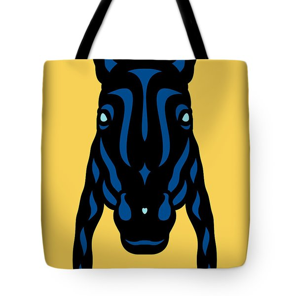 Horse Face Rick - Horse Pop Art - Primrose Yellow, Lapis Blue, Island Paradise Blue Tote Bag