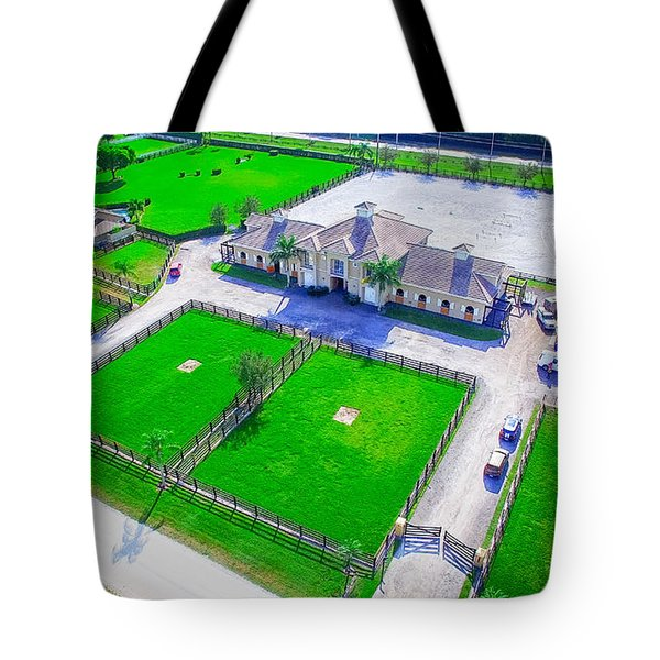 Horse Farm Aerial Tote Bag