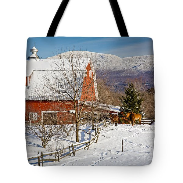 Horse Farm And Mount Mansfield Tote Bag by Susan Cole Kelly