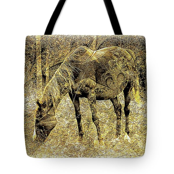 Horse Grazing On Pasture 2 Tote Bag