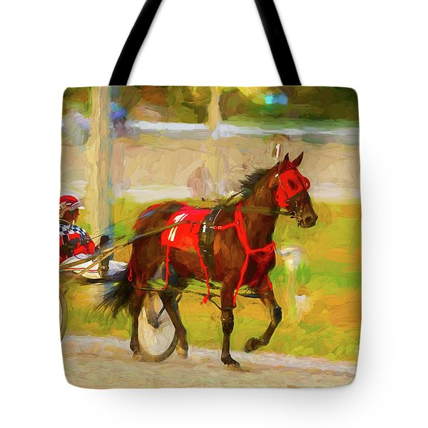 Horse, Harness And Jockey Tote Bag